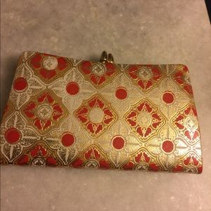 VTGE LEATHER RED GOLD FUNKY 60's WALLET